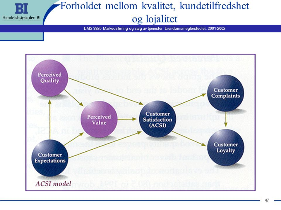 """EMS 9920 Markedsføring og salg av tjenester, Eiendomsmeglerstudiet, 2001-2002 46 Hva er kundelojalitet? n Def. customer loyalty is defined as: """"custom"""