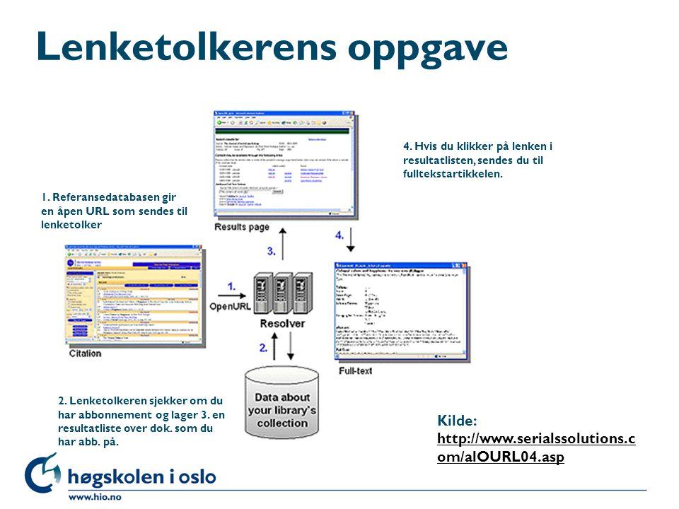 Lenketolkerens oppgave Kilde: http://www.serialssolutions.c om/alOURL04.asp http://www.serialssolutions.c om/alOURL04.asp 1. Referansedatabasen gir en