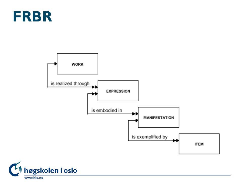 FRBR - fordeler l Gjør det lettere å strukturere trefflister l Gjør det lettere å se om dokumenter er relatert, f.eks.