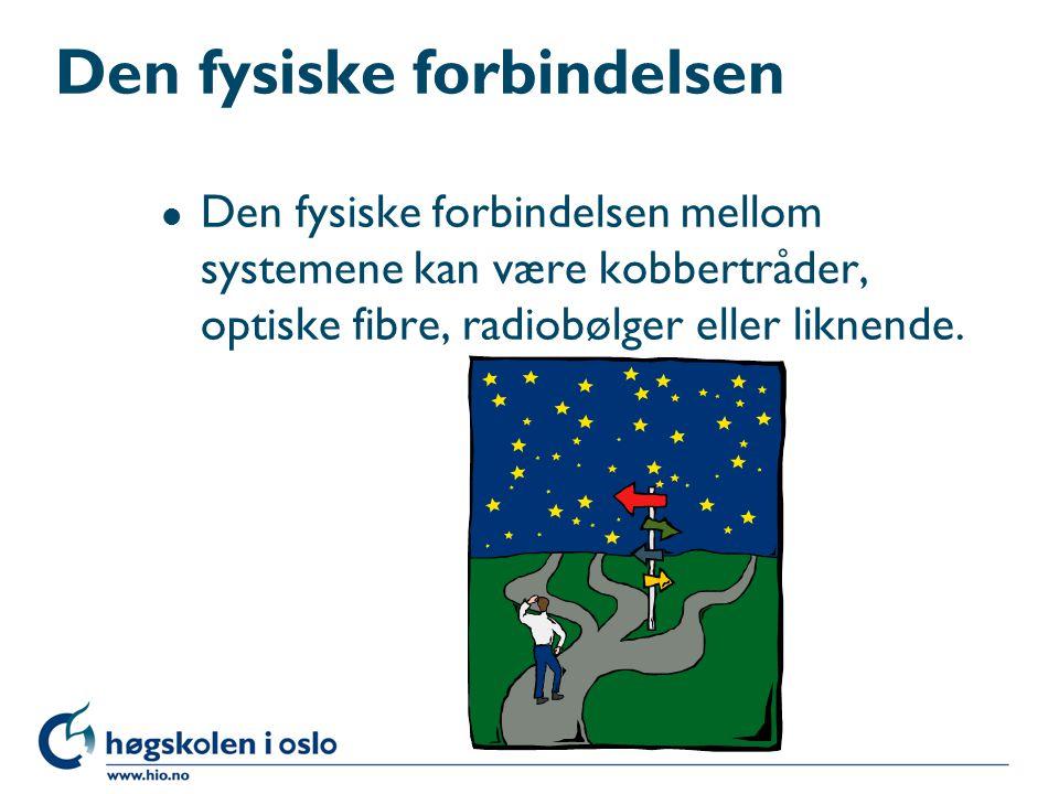 Den fysiske forbindelsen l Den fysiske forbindelsen mellom systemene kan være kobbertråder, optiske fibre, radiobølger eller liknende.