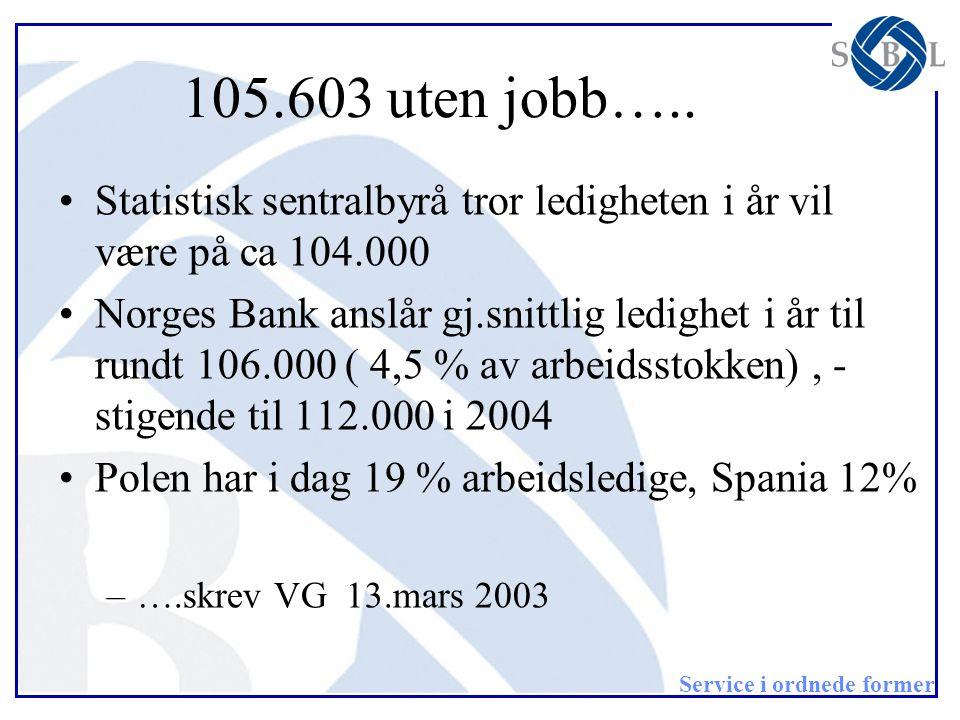 Service i ordnede former 105.603 uten jobb….. •Statistisk sentralbyrå tror ledigheten i år vil være på ca 104.000 •Norges Bank anslår gj.snittlig ledi