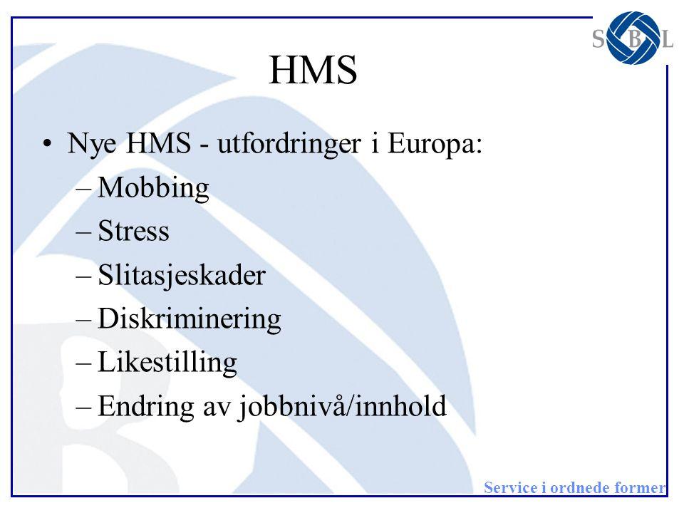 Service i ordnede former HMS •Nye HMS - utfordringer i Europa: –Mobbing –Stress –Slitasjeskader –Diskriminering –Likestilling –Endring av jobbnivå/inn