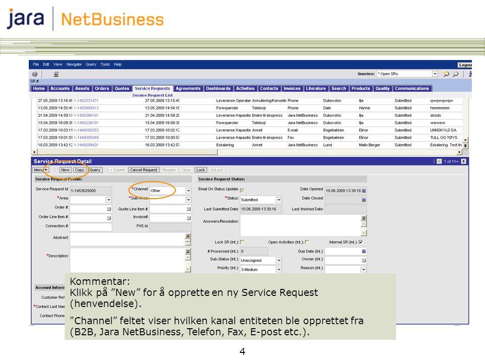 4 Kommentar: Klikk på New for å opprette en ny Service Request (henvendelse).