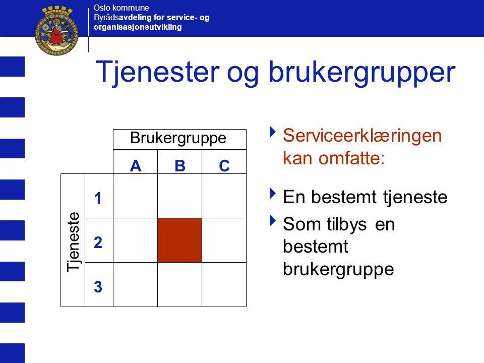 Oslo kommune Byrådsavdeling for service- og organisasjonsutvikling Tjenester og brukergrupper  Serviceerklæringen kan omfatte:  En bestemt tjeneste
