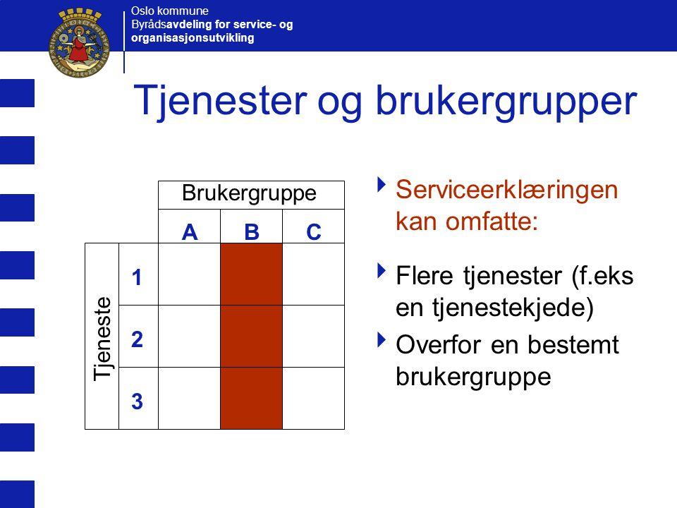 Oslo kommune Byrådsavdeling for service- og organisasjonsutvikling Tjenester og brukergrupper  Serviceerklæringen kan omfatte:  Flere tjenester (f.e