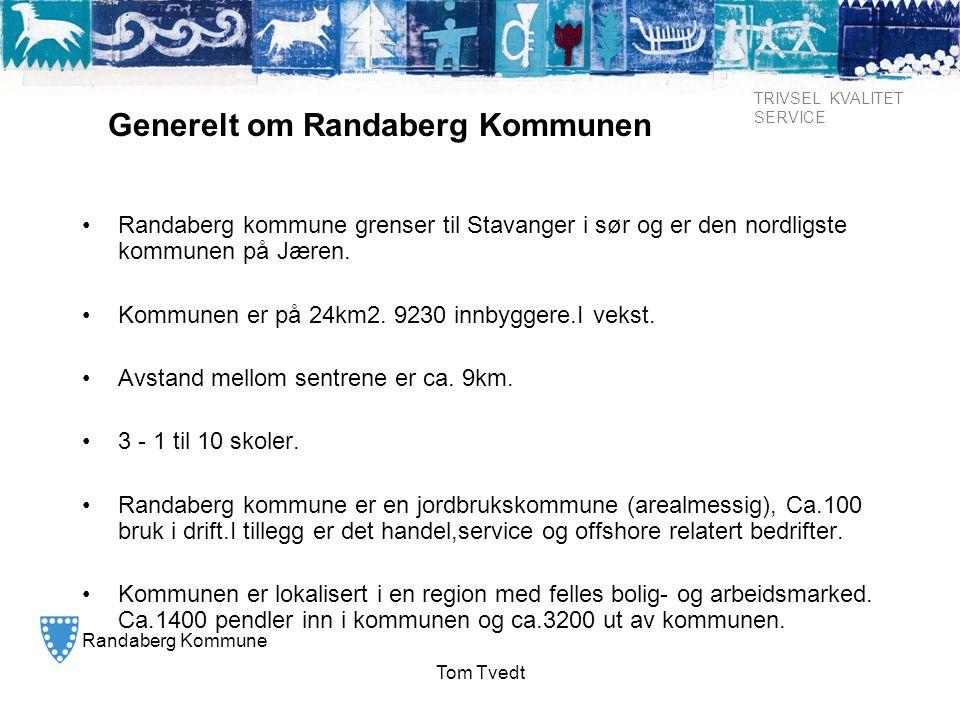 Randaberg Kommune TRIVSEL KVALITET SERVICE Tom Tvedt Generelt om Randaberg Kommunen •Randaberg kommune grenser til Stavanger i sør og er den nordligst