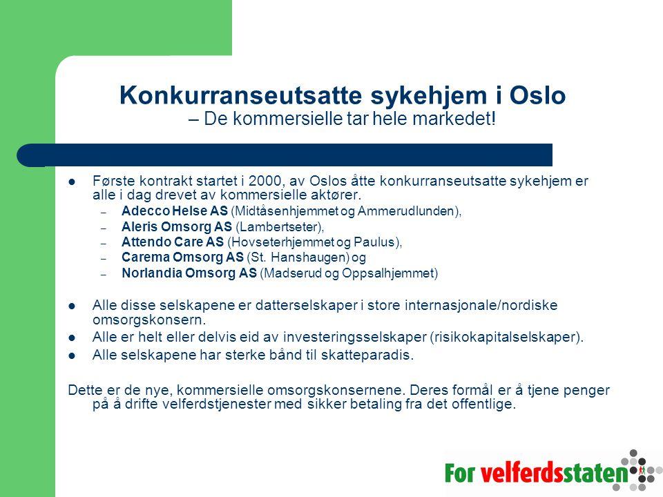Konkurranseutsatte sykehjem i Oslo – De kommersielle tar hele markedet!  Første kontrakt startet i 2000, av Oslos åtte konkurranseutsatte sykehjem er