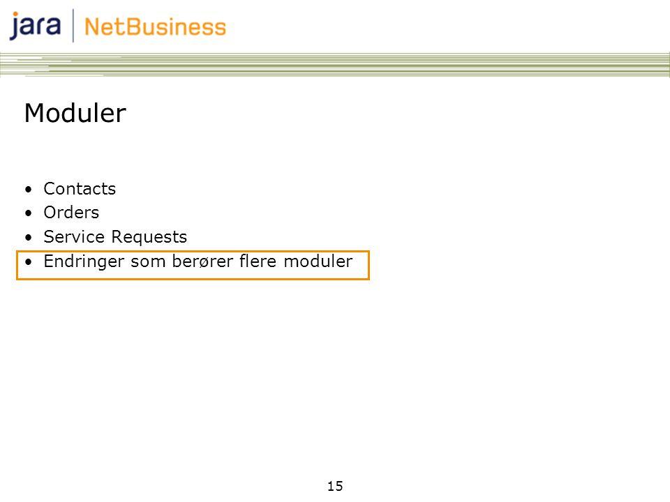 15 Moduler •Contacts •Orders •Service Requests •Endringer som berører flere moduler