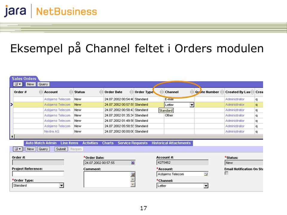 17 Eksempel på Channel feltet i Orders modulen