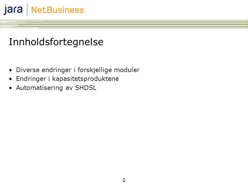 2 Innholdsfortegnelse •Diverse endringer i forskjellige moduler •Endringer i kapasitetsproduktene •Automatisering av SHDSL