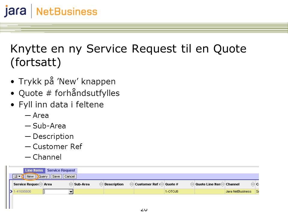 20 Knytte en ny Service Request til en Quote (fortsatt) •Trykk på 'New' knappen •Quote # forhåndsutfylles •Fyll inn data i feltene ―Area ―Sub-Area ―Description ―Customer Ref ―Channel