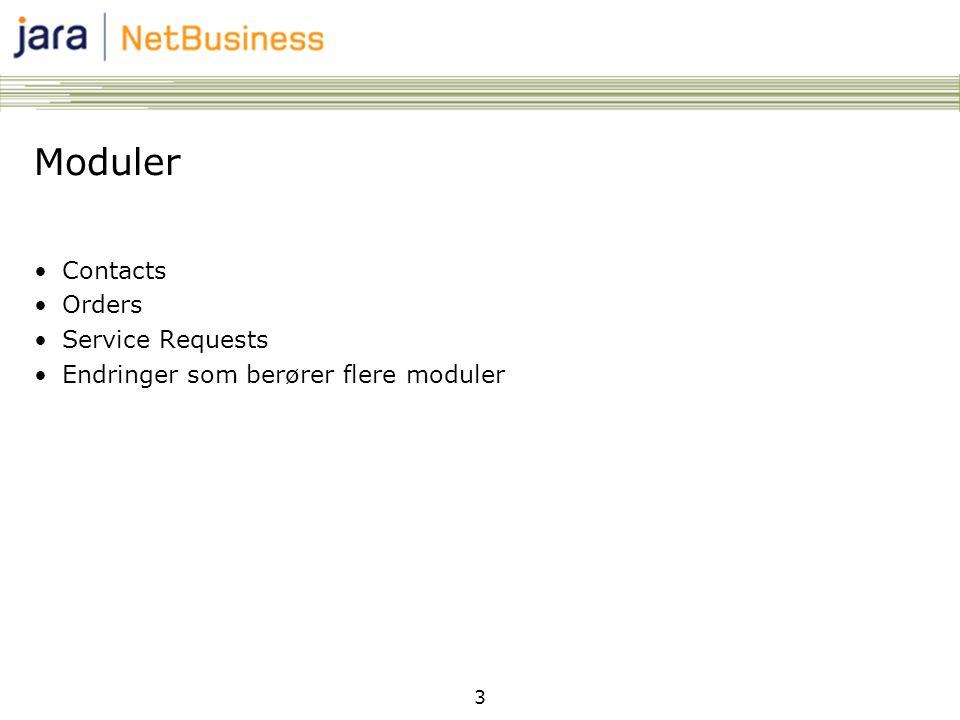 3 Moduler •Contacts •Orders •Service Requests •Endringer som berører flere moduler