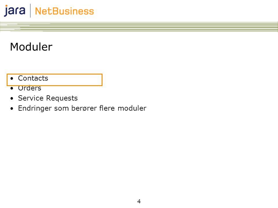 4 Moduler •Contacts •Orders •Service Requests •Endringer som berører flere moduler