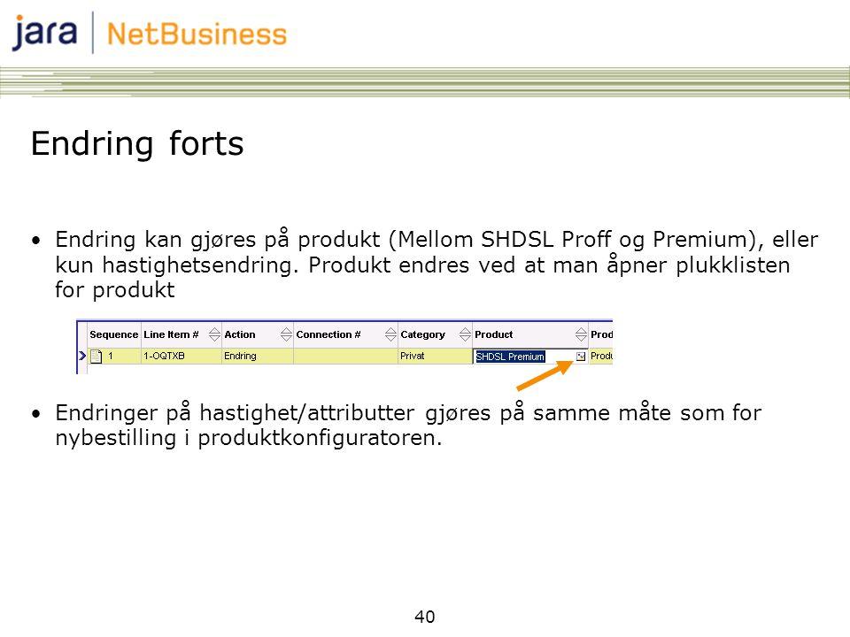 40 Endring forts •Endring kan gjøres på produkt (Mellom SHDSL Proff og Premium), eller kun hastighetsendring.