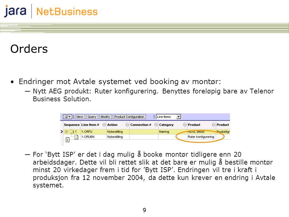 9 Orders •Endringer mot Avtale systemet ved booking av montør: ―Nytt AEG produkt: Ruter konfigurering.