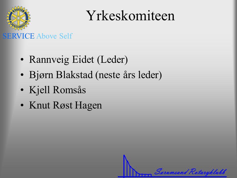 Sørumsand Rotaryklubb SERVICE Above Self Yrkeskomiteen •Rannveig Eidet (Leder) •Bjørn Blakstad (neste års leder) •Kjell Romsås •Knut Røst Hagen