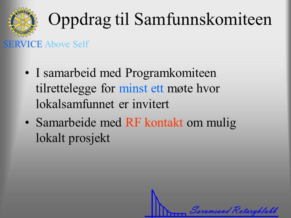 Sørumsand Rotaryklubb SERVICE Above Self Oppdrag til Samfunnskomiteen •I samarbeid med Programkomiteen tilrettelegge for minst ett møte hvor lokalsamf