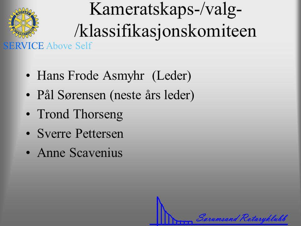 Sørumsand Rotaryklubb SERVICE Above Self Kameratskaps-/valg- /klassifikasjonskomiteen •Hans Frode Asmyhr (Leder) •Pål Sørensen (neste års leder) •Tron