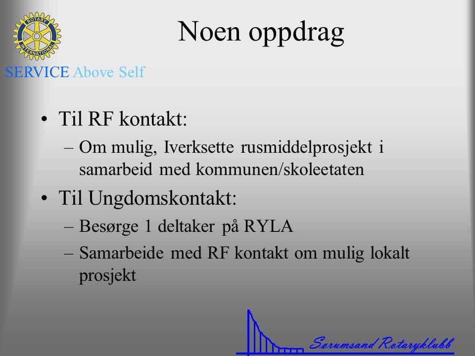 Sørumsand Rotaryklubb SERVICE Above Self Noen oppdrag •Til RF kontakt: –Om mulig, Iverksette rusmiddelprosjekt i samarbeid med kommunen/skoleetaten •T