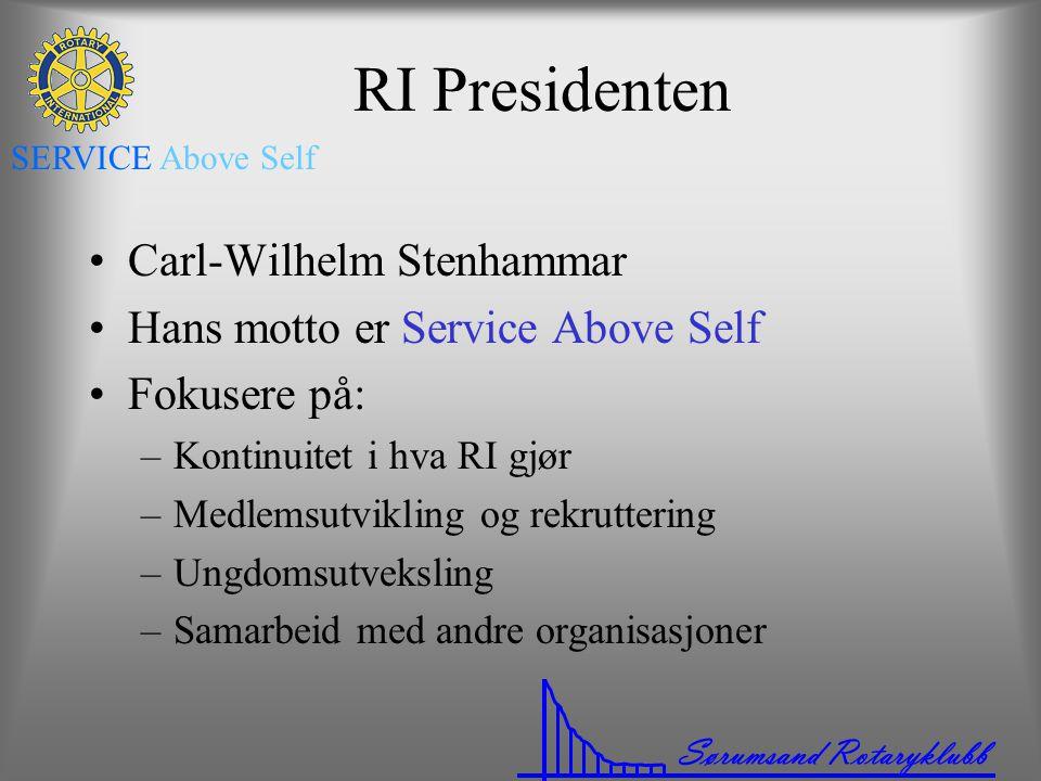 Sørumsand Rotaryklubb SERVICE Above Self RI Presidenten •Carl-Wilhelm Stenhammar •Hans motto er Service Above Self •Fokusere på: –Kontinuitet i hva RI