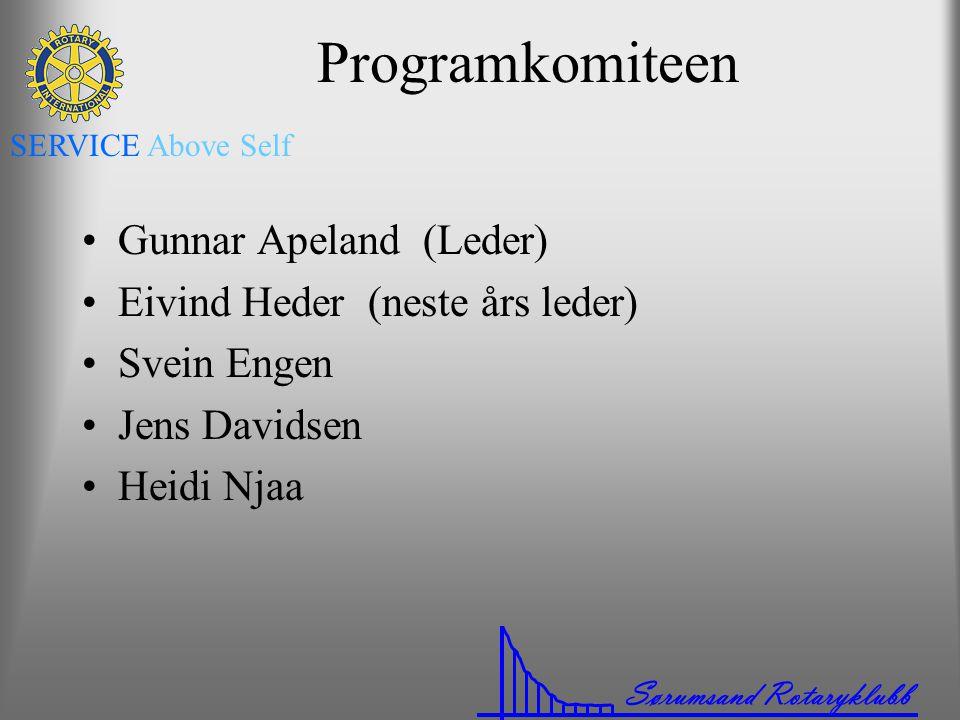 Sørumsand Rotaryklubb SERVICE Above Self Programkomiteen •Gunnar Apeland (Leder) •Eivind Heder (neste års leder) •Svein Engen •Jens Davidsen •Heidi Nj