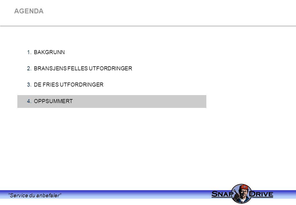 """""""Service du anbefaler"""" AGENDA 1.BAKGRUNN 2.BRANSJENS FELLES UTFORDRINGER 3.DE FRIES UTFORDRINGER 4.OPPSUMMERT"""
