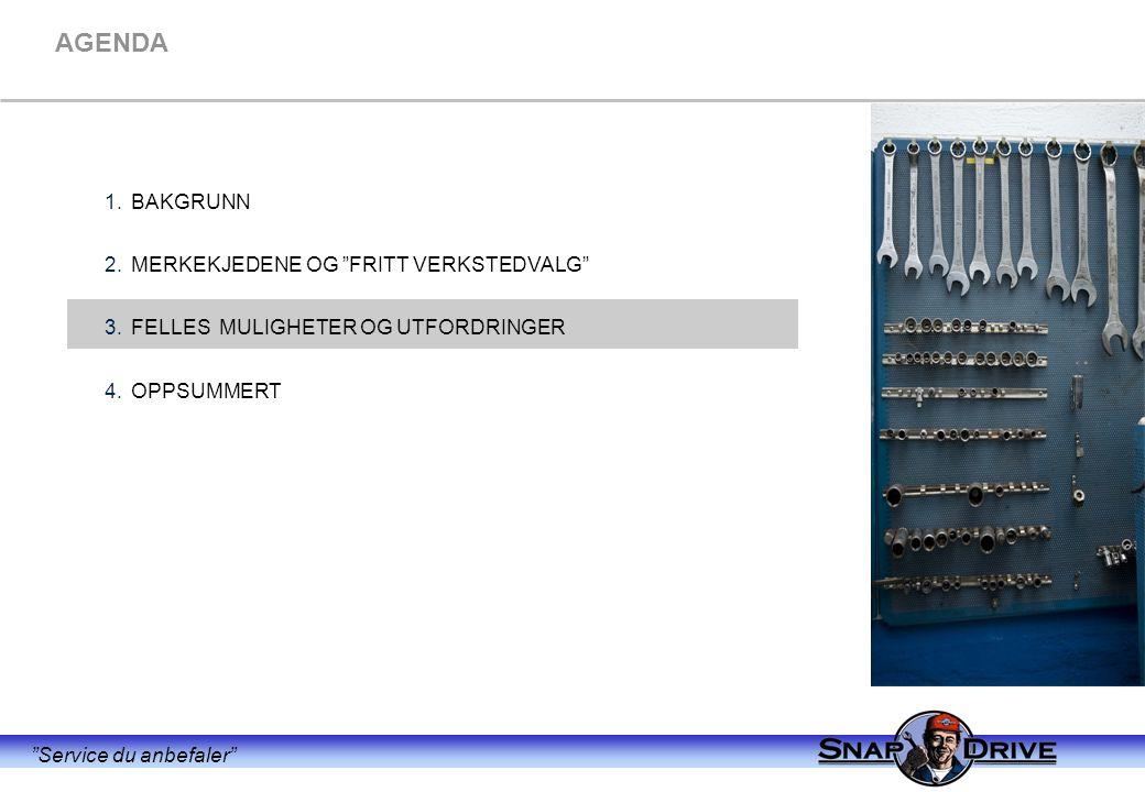 Service du anbefaler AGENDA 1.BAKGRUNN 2.MERKEKJEDENE OG FRITT VERKSTEDVALG 3.FELLES MULIGHETER OG UTFORDRINGER 4.OPPSUMMERT