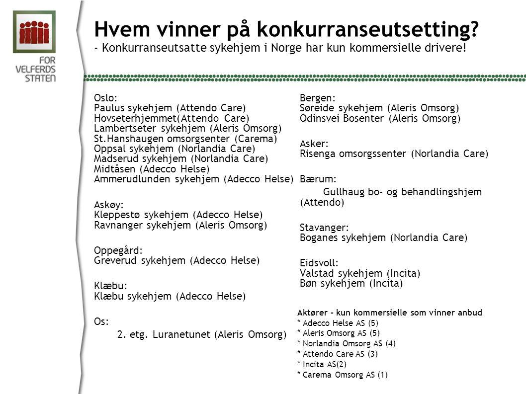 Oslo: Paulus sykehjem (Attendo Care) Hovseterhjemmet(Attendo Care) Lambertseter sykehjem (Aleris Omsorg) St.Hanshaugen omsorgsenter (Carema) Oppsal sy