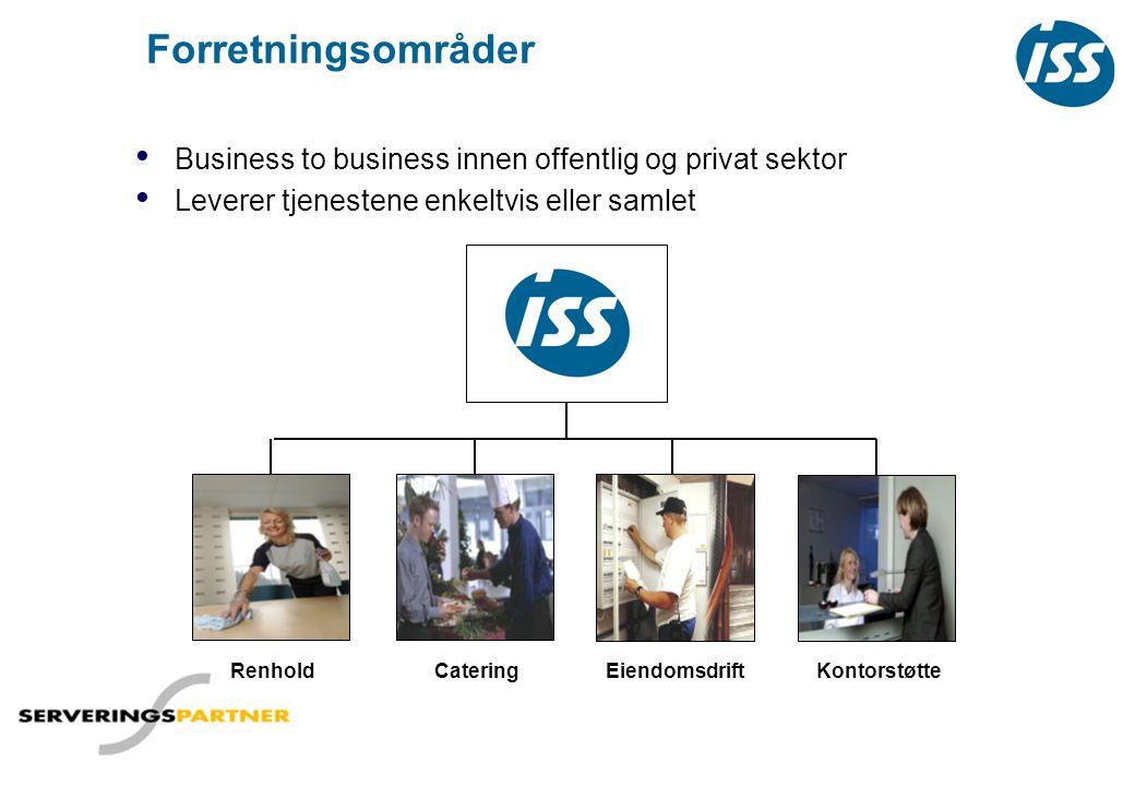Forretningsområder • Business to business innen offentlig og privat sektor • Leverer tjenestene enkeltvis eller samlet RenholdEiendomsdriftCateringKon