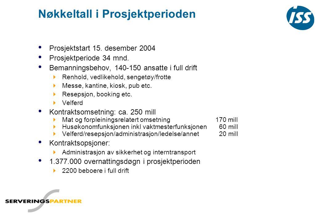 Nøkkeltall i Prosjektperioden • Prosjektstart 15. desember 2004 • Prosjektperiode 34 mnd. • Bemanningsbehov, 140-150 ansatte i full drift  Renhold, v