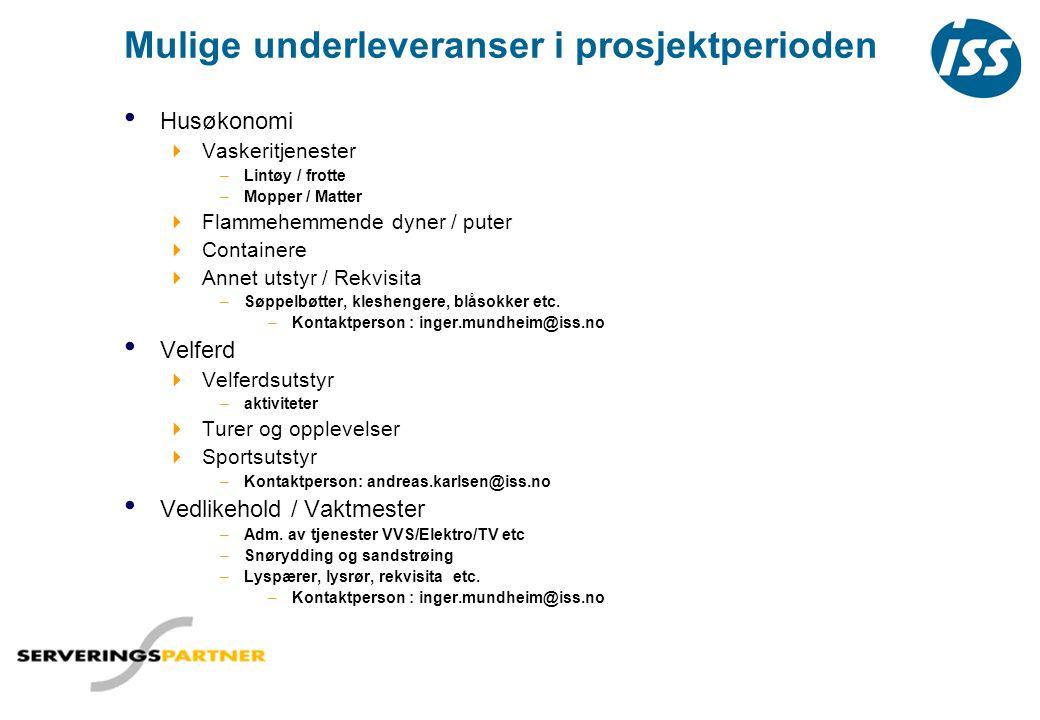 Mulige underleveranser i prosjektperioden • Husøkonomi  Vaskeritjenester –Lintøy / frotte –Mopper / Matter  Flammehemmende dyner / puter  Container