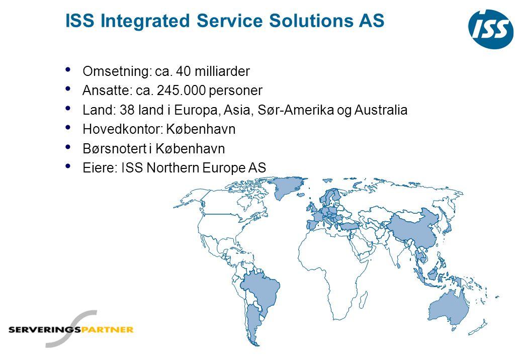 ISS Norge Hammerf est Melkøya Fakta om ISS Norge: • 60 regions- og avdelingskontorer • 9000 ansatte • Hovedkontoret: Sjølyst plass 2 på Skøyen i Oslo • Eies av: ISS A/S • Omsetning: 3,3 milliarder kroner • Norges 10.