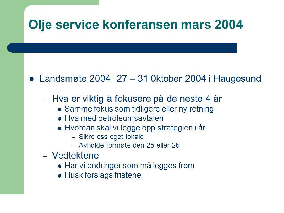 Olje service konferansen mars 2004  Landsmøte 2004 27 – 31 0ktober 2004 i Haugesund – Hva er viktig å fokusere på de neste 4 år  Samme fokus som tidligere eller ny retning  Hva med petroleumsavtalen  Hvordan skal vi legge opp strategien i år – Sikre oss eget lokale – Avholde formøte den 25 eller 26 – Vedtektene  Har vi endringer som må legges frem  Husk forslags fristene