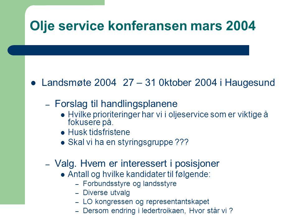 Olje service konferansen mars 2004  Landsmøte 2004 27 – 31 0ktober 2004 i Haugesund – Forbundstyret  H Ellingsen rep.