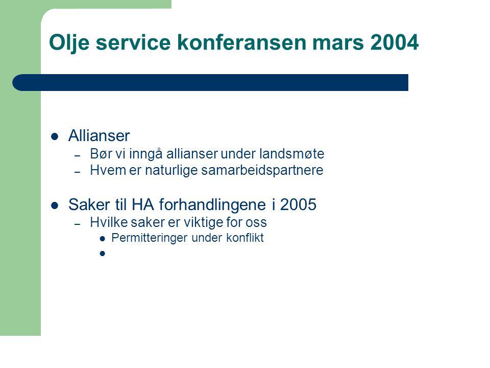 Olje service konferansen mars 2004  Allianser – Bør vi inngå allianser under landsmøte – Hvem er naturlige samarbeidspartnere  Saker til HA forhandlingene i 2005 – Hvilke saker er viktige for oss  Permitteringer under konflikt 