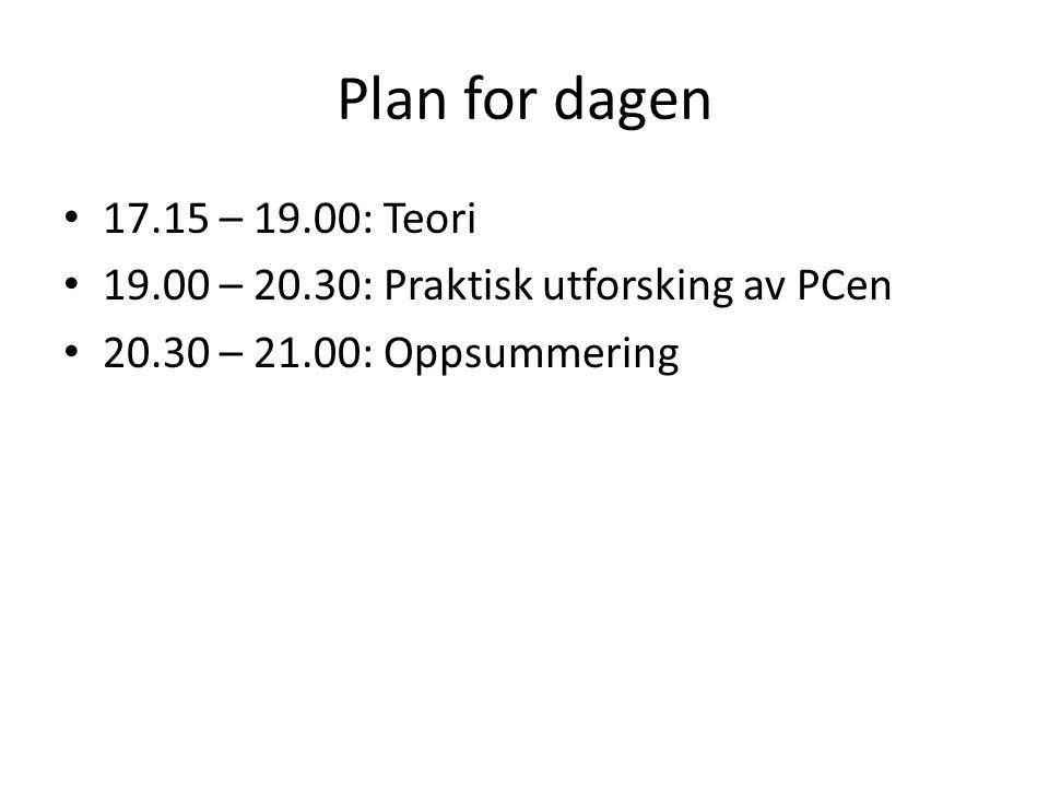 Plan for dagen • 17.15 – 19.00: Teori • 19.00 – 20.30: Praktisk utforsking av PCen • 20.30 – 21.00: Oppsummering