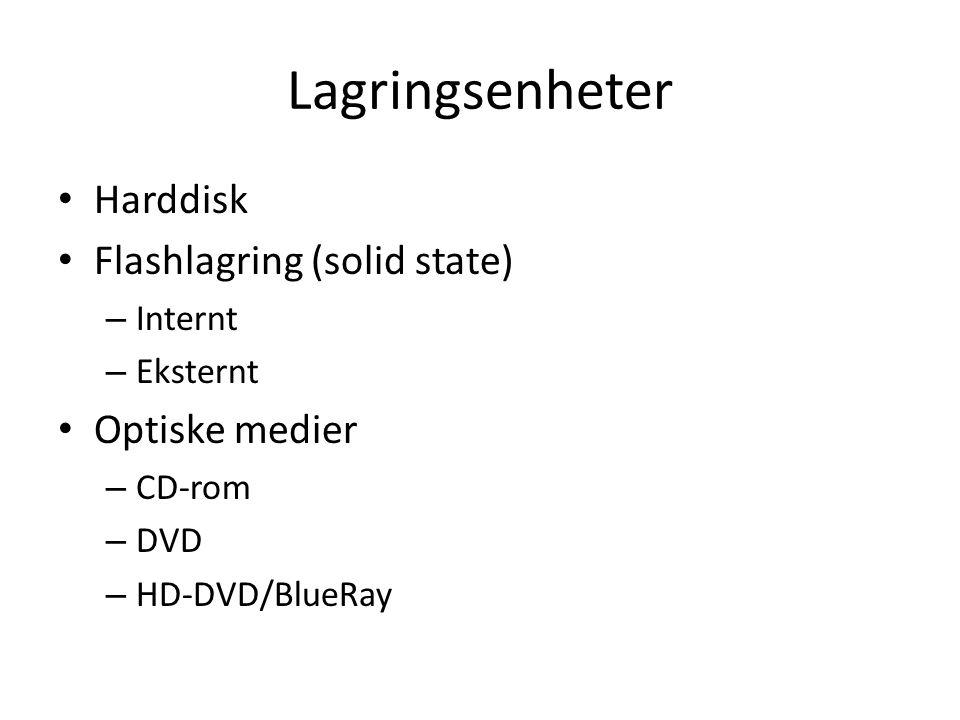 Lagringsenheter • Harddisk • Flashlagring (solid state) – Internt – Eksternt • Optiske medier – CD-rom – DVD – HD-DVD/BlueRay