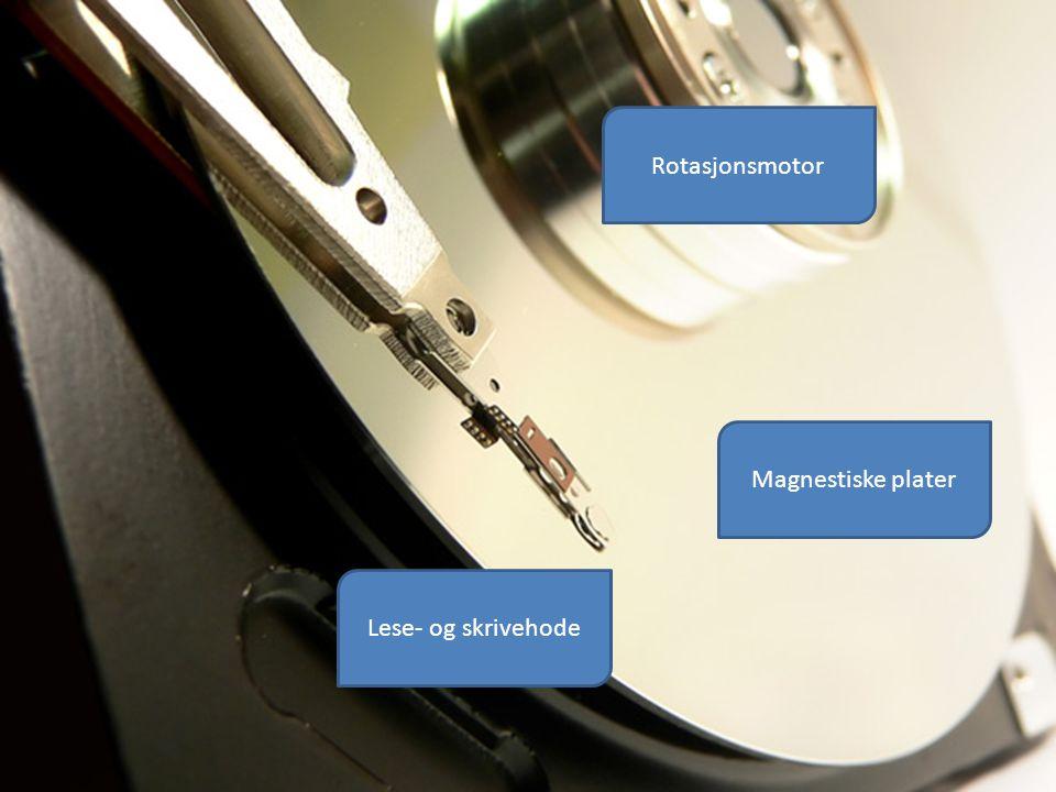 Harddisk Magnestiske plater Lese- og skrivehode Rotasjonsmotor