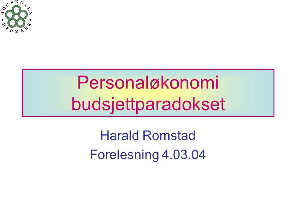 Personaløkonomi budsjettparadokset Harald Romstad Forelesning 4.03.04