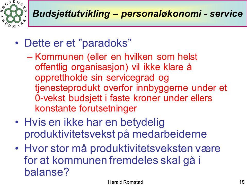 """Harald Romstad18 Budsjettutvikling – personaløkonomi - service •Dette er et """"paradoks"""" –Kommunen (eller en hvilken som helst offentlig organisasjon) v"""