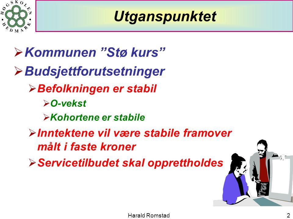 """Harald Romstad2 Utganspunktet  Kommunen """"Stø kurs""""  Budsjettforutsetninger  Befolkningen er stabil  O-vekst  Kohortene er stabile  Inntektene vi"""