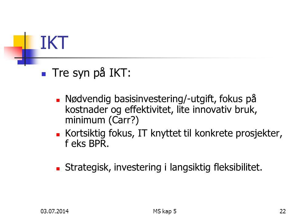 03.07.2014MS kap 522 IKT  Tre syn på IKT:  Nødvendig basisinvestering/-utgift, fokus på kostnader og effektivitet, lite innovativ bruk, minimum (Carr?)  Kortsiktig fokus, IT knyttet til konkrete prosjekter, f eks BPR.