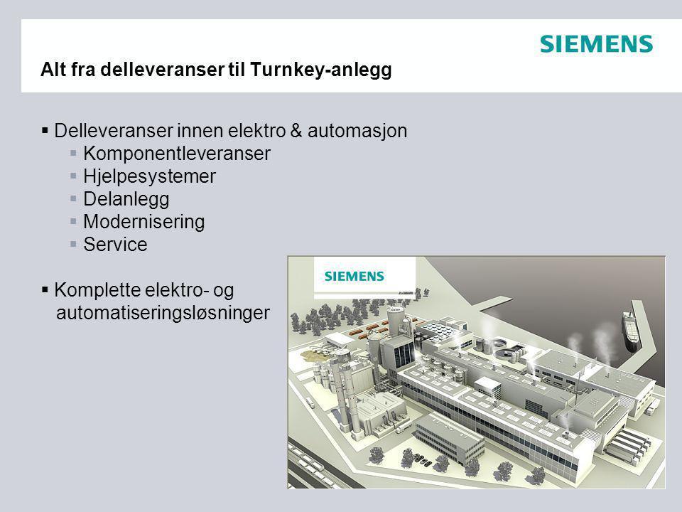 Alt fra delleveranser til Turnkey-anlegg  Delleveranser innen elektro & automasjon  Komponentleveranser  Hjelpesystemer  Delanlegg  Modernisering