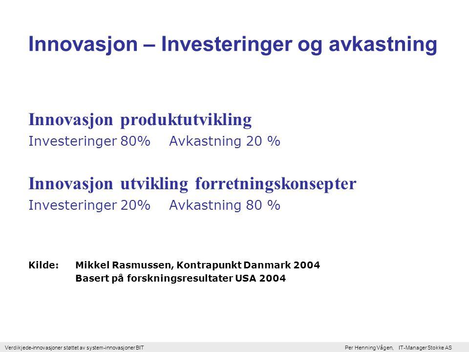 Verdikjede-innovasjoner støttet av system-innovasjoner BIT Per Henning Vågen, IT-Manager Stokke AS De røde stjernene på venstre side i bildene viser hvordan det tradisjonelt vektlegger midler til innovasjon i USA og Europa mens stjernene til høyre i de to siste bildene viser hvordan moderne innovasjonsteori vektlegger at innovasjon (konkurranse er en evolusjonær prosess, hvor teknologisk konkurranse er vel så viktig som ren priskonkurranse.