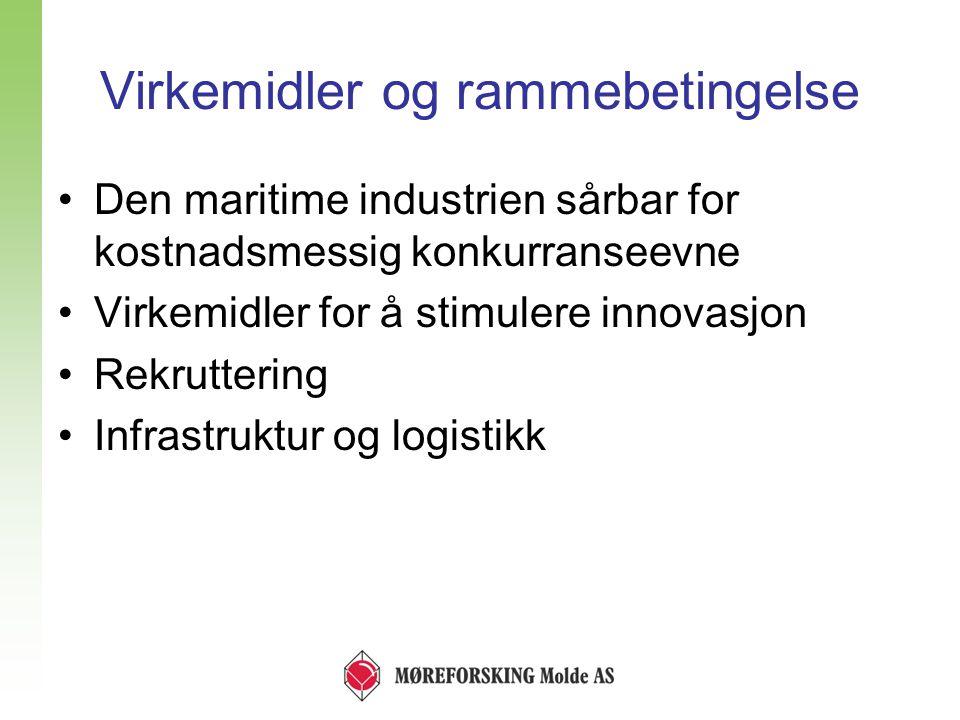 Virkemidler og rammebetingelse •Den maritime industrien sårbar for kostnadsmessig konkurranseevne •Virkemidler for å stimulere innovasjon •Rekruttering •Infrastruktur og logistikk