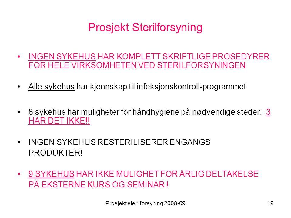 Prosjekt sterilforsyning 2008-0919 Prosjekt Sterilforsyning •INGEN SYKEHUS HAR KOMPLETT SKRIFTLIGE PROSEDYRER FOR HELE VIRKSOMHETEN VED STERILFORSYNIN