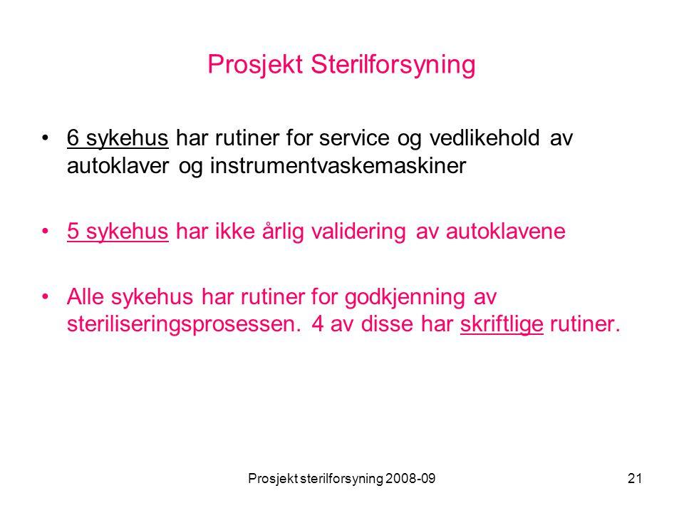Prosjekt sterilforsyning 2008-0921 Prosjekt Sterilforsyning •6 sykehus har rutiner for service og vedlikehold av autoklaver og instrumentvaskemaskiner