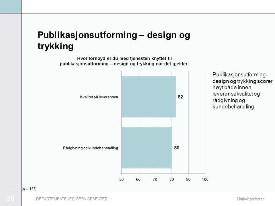 20 MarkedsenhetenDEPARTEMENTENES SERVICESENTER Publikasjonsutforming – design og trykking Publikasjonsutforming – design og trykking scorer høyt både