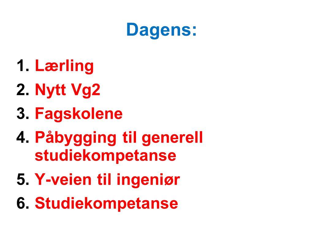 Dagens: 1.Lærling 2.Nytt Vg2 3.Fagskolene 4.Påbygging til generell studiekompetanse 5.Y-veien til ingeniør 6.Studiekompetanse