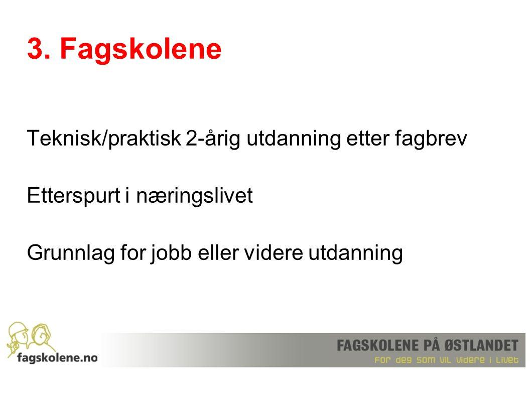 3. Fagskolene Teknisk/praktisk 2-årig utdanning etter fagbrev Etterspurt i næringslivet Grunnlag for jobb eller videre utdanning